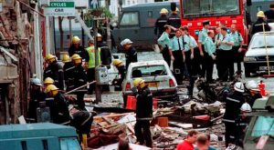 The scene after the Omagh bombing
