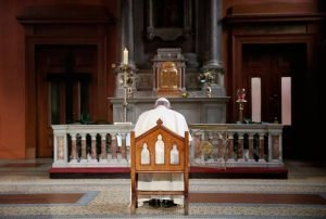Pope Francis prays inside St Mary's Pro Cathedral during his visit to Dublin, Ireland. (Stefano Rellandini/Pool Photo via AP)