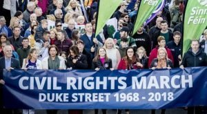 Sinn Fein march commemorating the anniversary of the civil rights rally in Derry in 1968