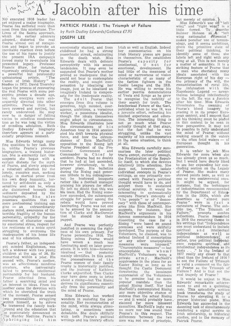 Patric Pearse: Irish Press review