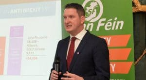 Belfast Lord Mayor John Finucane addresses a Press conference after being selected as Sinn Fein's candidate for the North Belfast seat for the next general election
