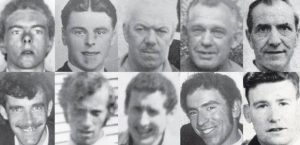 The victims of the Kingsmill massacre (clockwise from top left): Robert Chambers; John Bryans; Joseph Lemmon; James McWhirter; Robert Freeburn; Robert Walker; Reginald Chapman; Kenneth Worton; John McConville and Walter Chapman