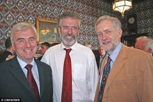 Supporter: Jermey Corbyn and John McDonnell with Gerry Adams at the House Of Commons in 2008
