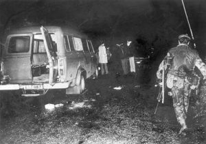TRAGEDY: The bullet-riddled minibus at the scene of the massacre of workmen shot dead by the IRA at Kingsmill, 1976