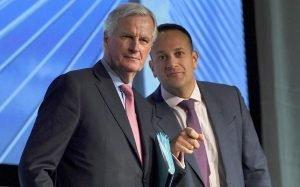 Michel Barnier with Leo Varadkar CREDIT: CLODAGH KILCOYNE`/REUTERS