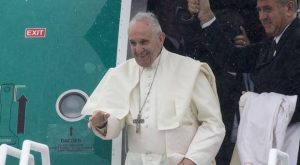 Pope Francis leaving Knock Airport yesterday