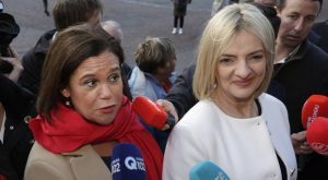 disastrous race for presidency: Mary Lou McDonald and (right) presidential candidate Liadh Ni Riada