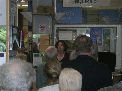 Ruth speaking at the launch in Queen's University Bookshop