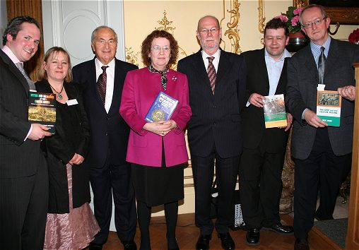 The Irish Ambassador, publishers and authors at the launch at the Irish Embassy in London on 5 April 2006 of four books relating to Easter 1916. Ruth is the one in startling pink!
