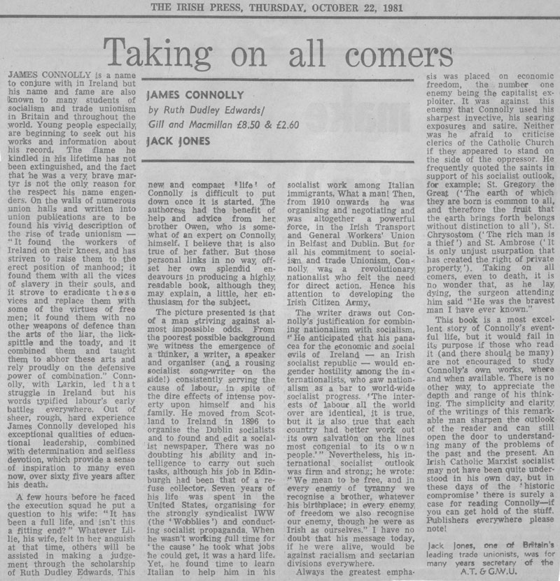 James Connolly: Irish Press review