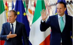 Leo Varadkar meets Donald Tusk in Brussels last year CREDIT: REUTERS/YVES HERMAN