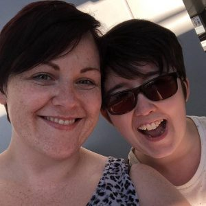 Lyra McKee (right) pictured with her partner Sara Canning (left) who spoke at a vigil