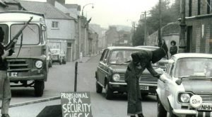 A Provisional IRA checkpoint at the entrance to the Bogside and the Creggan in 1970
