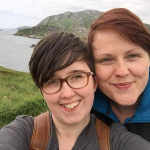 Lyra and her partner Sara Canning on holiday