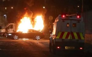 Violence erupted in Londonderry on Thursday night CREDIT: NIALL CARSON/PA