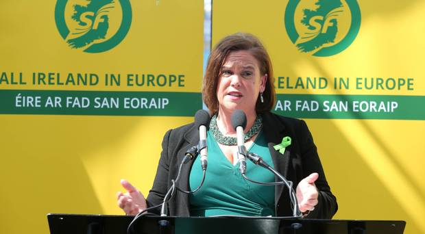 Sinn Fein leader Mary Lou McDonald speaking before the European election results