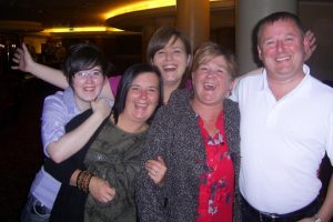 Happy family: with sisters Mary and Nichola, her mother, Joan, and uncle, Joseph