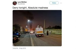 Final post: Lyra's last tweet was about the Londonderry riot during which she was shot