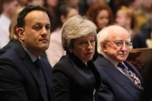 Aftermath: Leo Varadkar, Theresa May and Michael D Higgins at Lyra's funera lPA