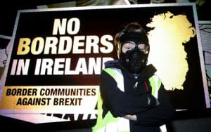 Demonstrators from 'Border Communities Against Brexit' attend an anti-No Deal Brexit protest at the Carrickcarnon border crossing on the road between Dundalk, Ireland on October 16, 2019 CREDIT: PAUL FAITH /AFP