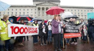 Protesters attend the We Deserve Better rally at Stormont last month. It was held to mark the passing of 1,000 days since the collapse of devolution
