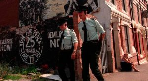 RUC officers on patrol in Belfast in 1994
