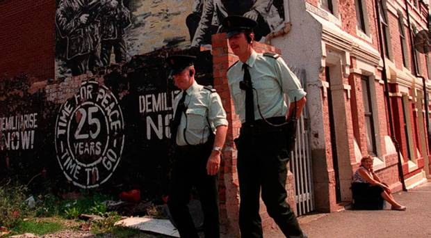 Cops On The Frontline: RUC officers on patrol in Belfast in 1994