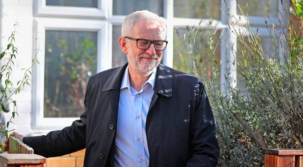 Labour Party leader Jeremy Corbyn leaves his home in north London at the weekend
