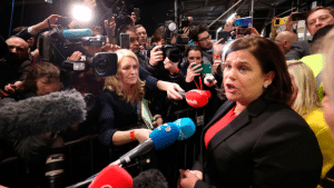 Sinn Fein president Mary Lou McDonald during the election count at the RDS in Dublin