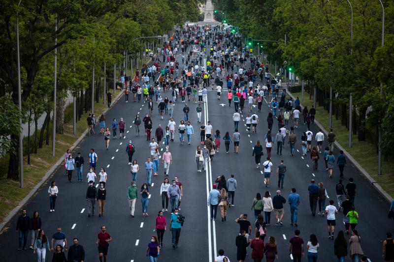 People exercise along Paseo de la Castellana in Madrid after the Spanish lockdown was eased