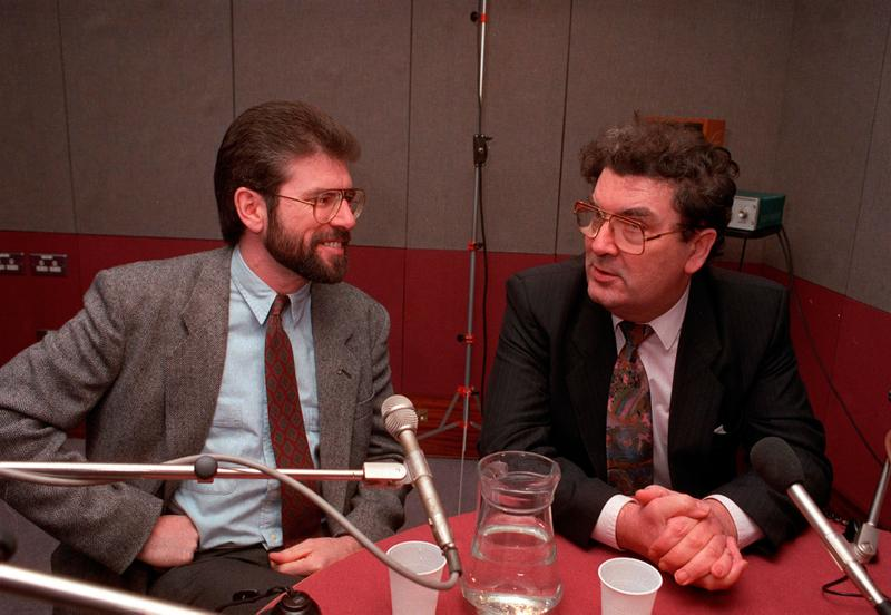 Gerry Adams and John Hume during a BBC Radio 4 interview in 1992