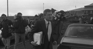 "Pat Finucane in late 1988 at a shoot to kill inquest of IRA men. months before he was shot dead in early 1989. Ruth Dudley Edwards says: ""He defended republican paramilitaries and the occasional loyalist, for he hated the state. Yet Sinn Fein managed successfully to rebrand him posthumously as a human rights lawyer"""