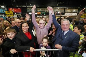Mary Lou McDonald celebrates Sinn Fein's Dessie Ellis being re-elected TD earlier this year. The party is twisting historical commemorations to its electoral advantage