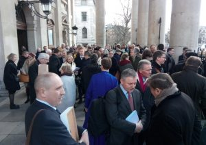 """Congregants after the memorial service to the former IRA terrorist Sean O'Callaghan at St Martin in the Fields in central London, in March 2018. Ruth Dudley Edwards writes: """"He was grateful that so many Ulster Protestants accepted his repentance as genuine and befriended him. David Trimble and Arlene Foster were among many unionists at his memorial service"""""""
