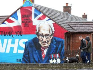 "A mural in Clonduff estate, East Belfast of Captain Tom Moore, the British Army veteran who raised £30 million for the NHS during Covid. Ruth Dudley Edwards writes: ""Few people did not admire this courageous old man, but you can always rely on Sinn Fein to be mean-spirited"". Picture Pacemaker"