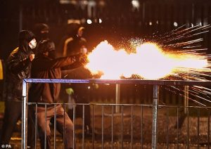 youths unleash fireworks in Belfast tonight
