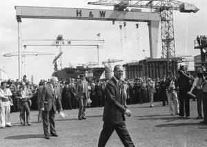 Prince Philip visits Harland in Wolff in 1977. He had visited the shipyard in 1946 on the first of his 57 visits to NI, which continued during the Troubles. He believed that faced with misfortune and tragedy your job is just to get on with things
