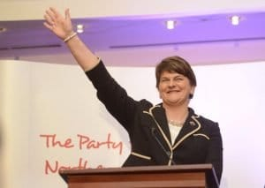 Arlene Foster in 2015 after being elected DUP leader. She had the nightmare of being in government with the unrepentant IRA supremo, Martin McGuinness, who had delivered the eulogy in 1986 at the graveside of serial killer Séamus McElwain, who had tried to murder her father, John Kelly