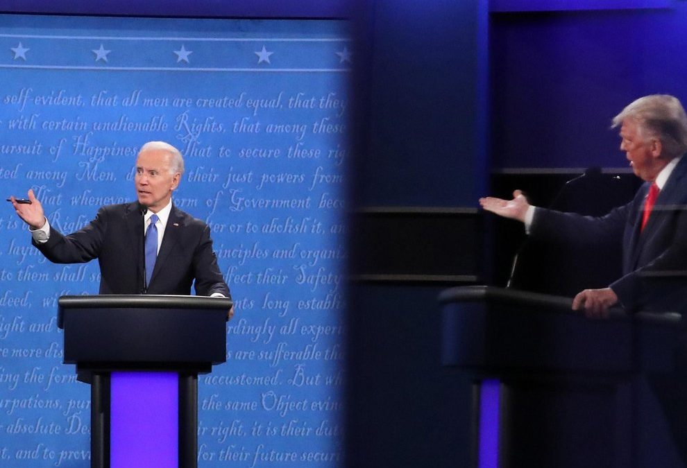 Joe Biden and Donald Trump in an October 2020 US election debate in Tennessee. Biden's team seemed worried about his memory during the campaign. Trump still exudes energy at 75, despite having had Covid. The media and Big Tech companies so hated Trump they did everything they could to ensure a Biden victory